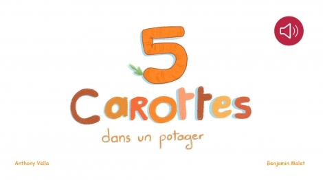 Cinq carottes dans un potager