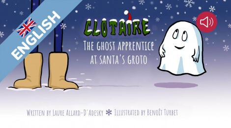 Clotaire the ghost apprentice at the Santa's groto.